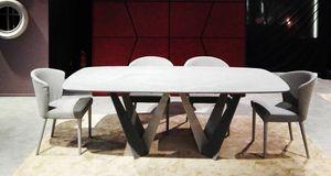 Klee Art. 316-MRV1, Tisch mit doppelter Basis in gebeizter Platte
