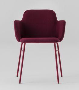 ART. 0034-MET-TU-CB-UPH BARDOT, Moderner Sessel mit gepolsterten Armlehnen