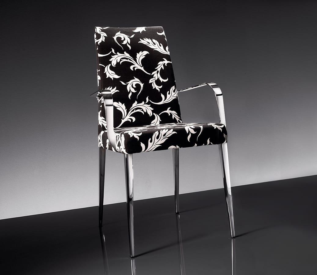 ART. 247/1/B 247/2/B HOLLYWOOD ARMCHAIR, Sessel aus verchromtem Metall, gepolstert in Stoff oder Leder