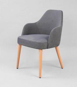 M31, Gepolsterter Sessel mit Holzbeinen