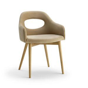 Mirò P, Moderner Sessel mit Holzbeinen