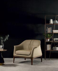 TIFFANY  sessel, Sessel mit Holzgestell und Bezug aus Leder mit rautenförmiger Steppung