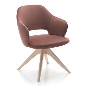 Vivian armchair, Sessel mit verschiedenen Holzsockeln erhältlich