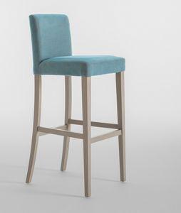 C03SG, Barhocker mit Holzrahmen, gepolsterter Sitz und Rücken, für Restaurants und Hotels