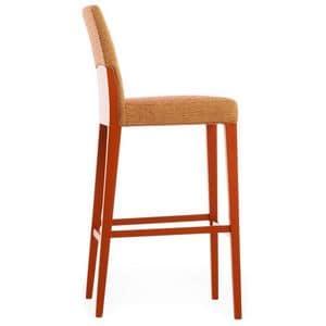 Charme 02581, Barhocker aus Massivholz mit gepolstertem Sitz und Rückenlehne