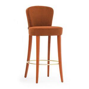 Euforia 00181, Barhocker aus Massivholz, gepolsterter Sitz und Rücken, mit Stoff, moderner Stil überzogen