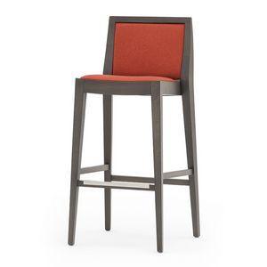 Flame 02181, Barhocker aus Massivholz, Sitz und Rücken gepolstert, Stoffbezug, Fußstütze aus Stahl, für den Objektbereich