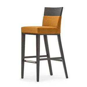 Logica 00988, Barhocker aus Massivholz, Sitz und Rücken gepolstert, Stoffbezug, mit Edelstahl-Sockelleiste, für Vertrags-und Wohnbereich