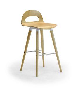 Samba Wood stool 4G, Hocker mit Holzbeinen und Schale