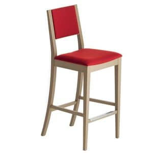 Sintesi 01582, Barhocker aus Massivholz, Sitz und Rücken gepolstert, Stoffbezug, mit Edelstahl-Sockelleiste, für Vertrags-und Wohnräumen