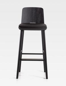 Tablet, Hocker aus Holz mit gepolstertem Sitz