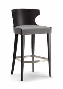 XIE BAR STOOL 052 SG, Hocker aus Holz mit gepolstertem Sitz