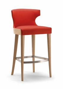 XIE BAR STOOL 053 SG, Hocker aus Holz mit umhüllender Rückenlehne