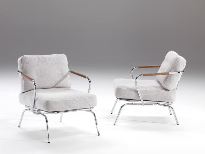 Alice, Bequemen Sessel mit sichtbaren Stahlkonstruktion