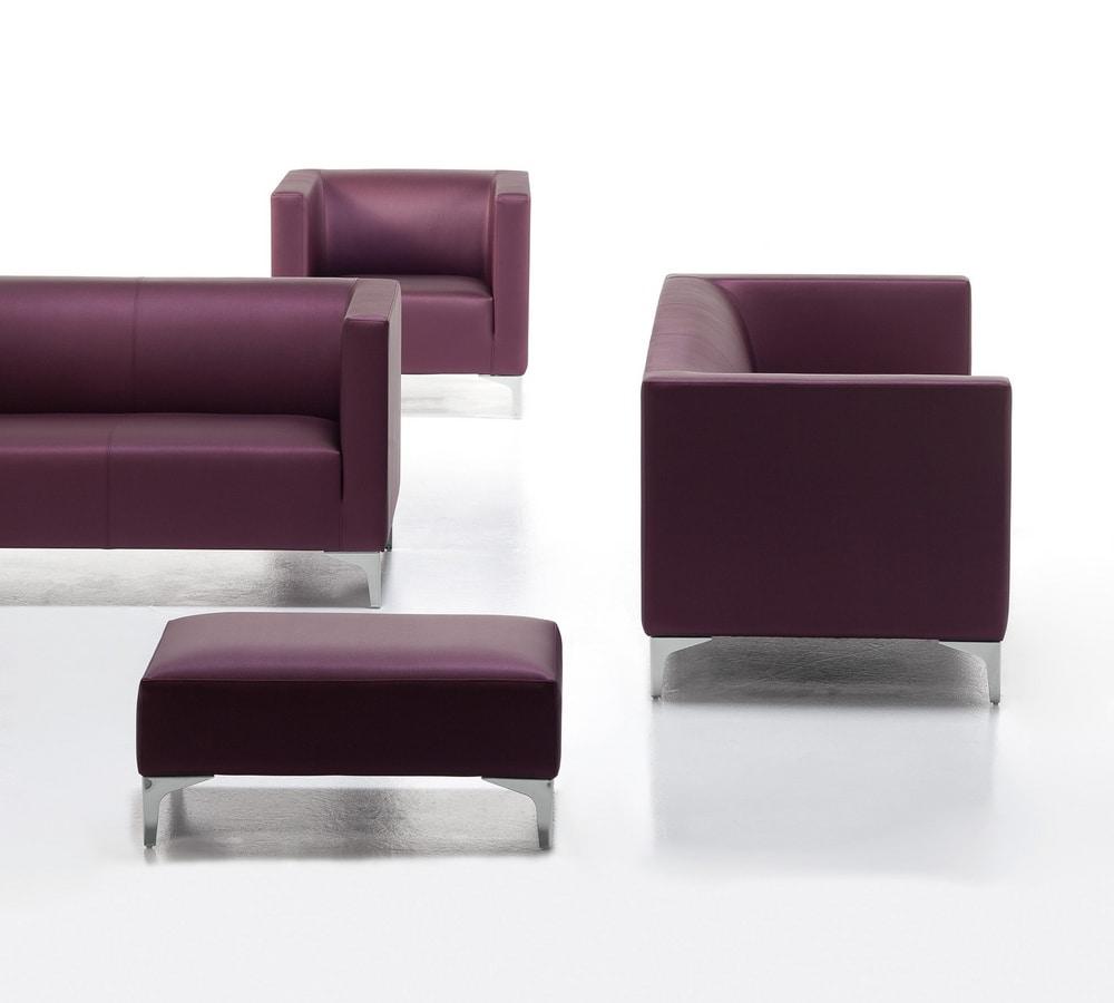 Argo Light 01, Gepolsterten Sessel, Stahlbasis, für Büro und Warteraum