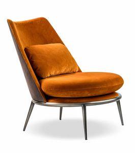 Aurora Sessel, Gepolsterter Sessel mit dekorativem Kissen