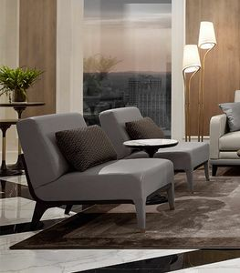 Dilan Art. D81, Sessel ohne Armlehnen aus grauem Leder