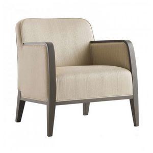 Opera 02241, Sessel aus Massivholz, Sitz und Rücken gepolstert, Stoffbezug, moderner Stil