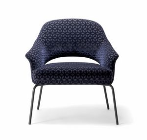 WINGS LOUNGE CHAIR WITH METAL BASE 076 PL, Sessel mit Metallbeinen