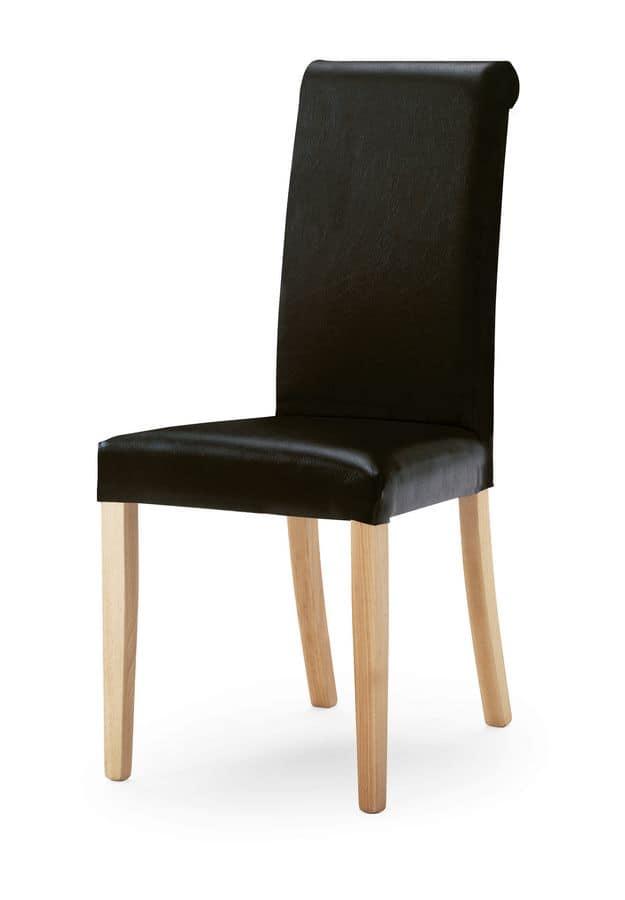 0320/R, Polsterstuhl mit hohen Rückenlehne, Holzbeine