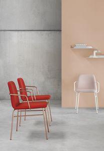 ART. 0034-MET-TU-CB BARDOT, Gepolsterter Stuhl mit Armlehnen aus Metall