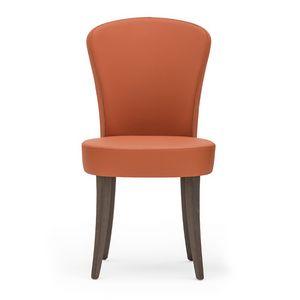 Euforia 00111, Moderner Stuhl aus Massivholz, Sitz und Rücken gepolstert