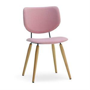 Jessica, Gepolsterter Stuhl mit Holzbeinen