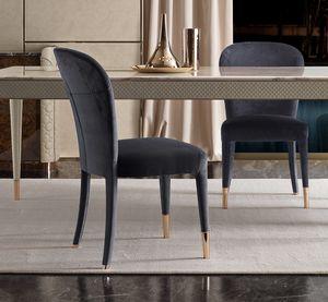 Karen Stuhl, Eleganter Stuhl mit Samt bezogen