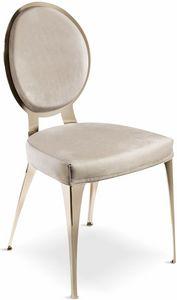 Miss Stuhl mit gepolsterter Rückenlehne, Moderner Stuhl mit gepolsterter, runder Rückenlehne