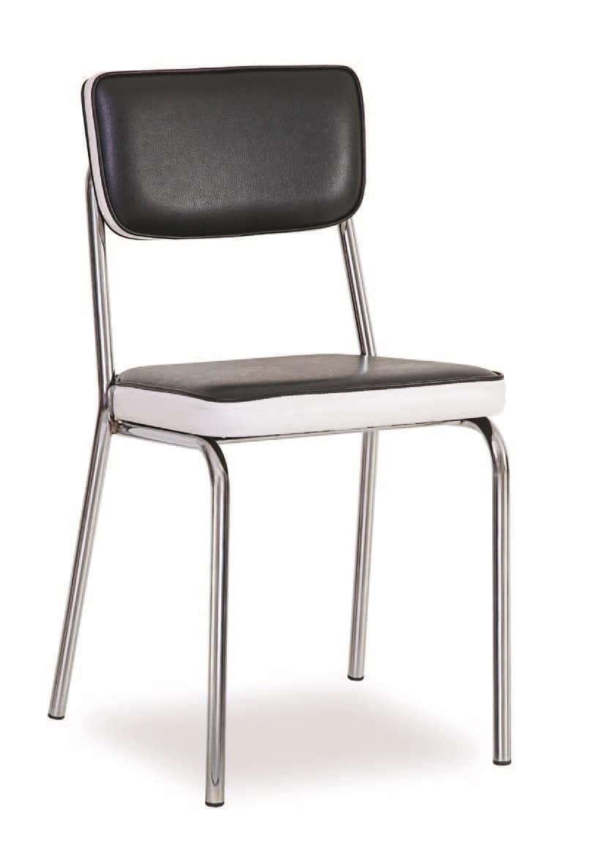 SE 1957, Gepolsterte Metallstuhl, in Kunstleder gepolstert