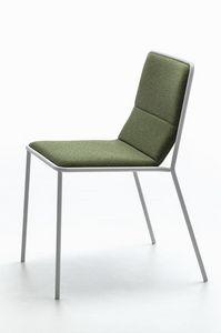 Tres, Moderner Metallstuhl mit gepolstertem Sitz, leicht