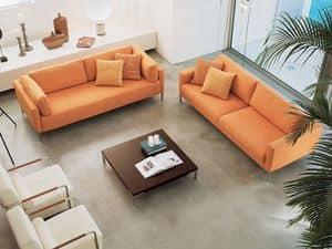 Albi', Elegant Holzsofa, mit Acrylfasern bedeckt