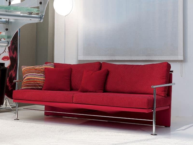 Block, Elegantes Sofa mit Eisen sichtbaren Rahmen, für das Büro