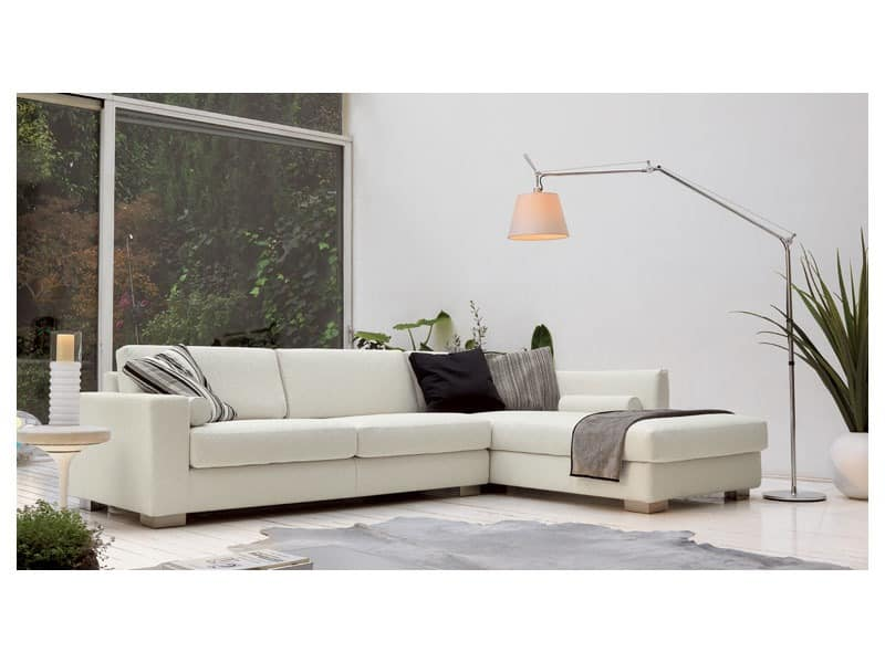 Brug corner, Elegante Winkel Sofa aus Polyurethan, Holz Füße