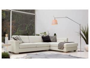 Brug corner, Elegante Winkel Sofa aus Polyurethan, Holz F��e