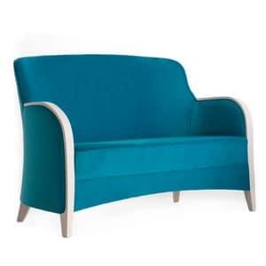 Euforia 00152, Sofa aus Massivholz, Holz Armlehnen, gepolsterter Sitz und Rücken, moderner Stil