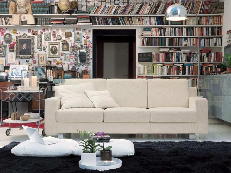 Incontro, Lineares Sofa aus Polyurethanschaum, für Hotel