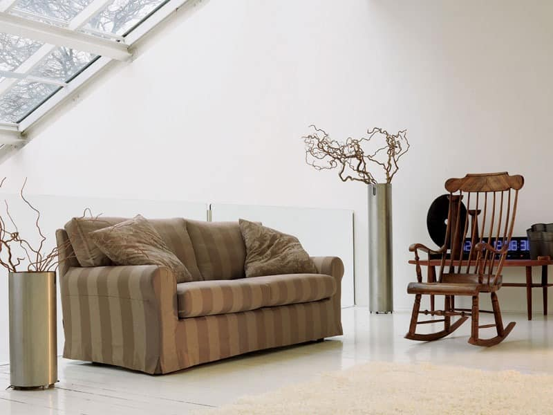 Kent, Sofa aus Massivholz, mit Rückenlehne in der Feder