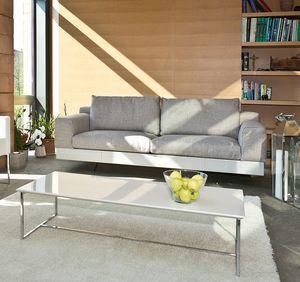Lario, Modernes Sofa mit lackiertem oder Ledersockel
