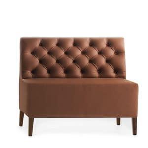 Linear 02452K, Modulare niedrige Bank, Holzfüße, capitonnè gepolsterter Sitz und Rücken, hautbezug, moderner Stil
