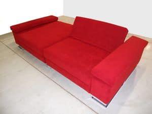 Mago', Sofa ideal f�r den Mittelraum, F��e aus verchromtem Stahl