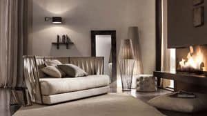 Twist Sofa, Sofa mit Eisenrahmen, Rücken mit Riemen aus Leder