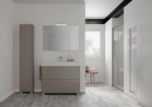 Basic comp.01, Freistehender Badezimmerschrank mit Cercamic Waschbecken