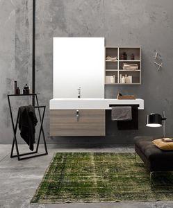 Byte 2.0 comp.04, Wand-Badezimmerschrank mit Ablageflächen