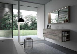 Nyù comp.15, Minimaler Badezimmerschrank, mit Spiegel und LED-Licht