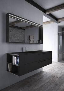 Sense comp.03, Badezimmermöbel in schwarzer Fenix