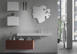 Plane 3D 08, Badezimmermöbel mit Hängeschränken und Spiegel
