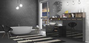 Torana TR 031, Glänzendes schwarzes Badezimmerkabinett
