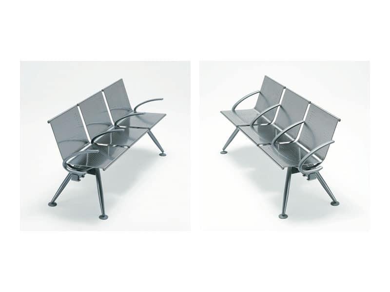 Ulisse inox, Zeitgenössische Modulare Sitzbank auf Stahl Satin Strahl