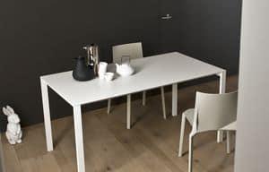 Thin-k, Ausziehbarer Tisch mit Aluminiumplatte und Kabelloch